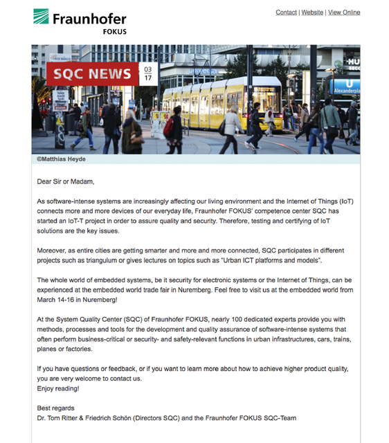 SQC, Newsletter, Anzeigebild