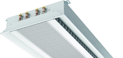 Super flat active chilled beam with two-way air discharge and horizontal heat exchanger, suitable for grid ceilings with grid size 600 or625