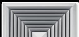 Для горизонтальной подачи приточного воздуха в четырех направлениях, с неподвижными направляющими лопатками, лицевая панель диффузора из алюминия