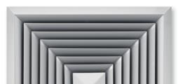 Für vierseitige horizontale Luftführung, mit feststehenden Lamellen – Frontdurchlass aus Aluminium
